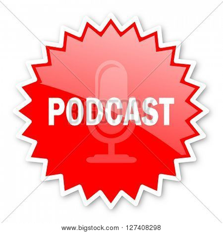 podcast red tag, sticker, label, star, stamp, banner, advertising, badge, emblem, web icon