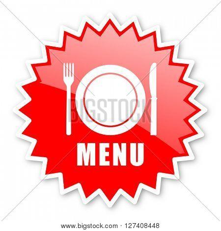 menu red tag, sticker, label, star, stamp, banner, advertising, badge, emblem, web icon
