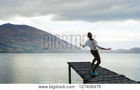 Girl riding skateboard