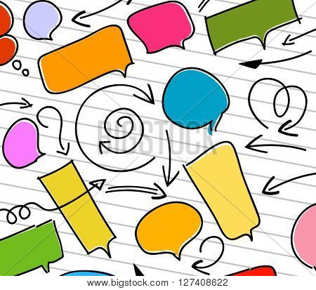 set of doodle bubble speech and arrows on white
