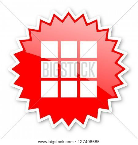 thumbnails grid red tag, sticker, label, star, stamp, banner, advertising, badge, emblem, web icon