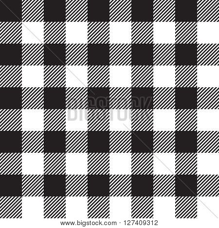 Black tablecloth seamless pattern. Vector illustration of traditional gingham dining cloth with fabric texture. Checkered picnic cooking tablecloth.
