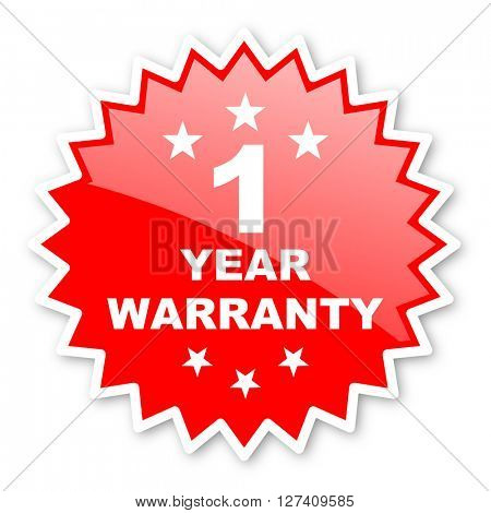 warranty guarantee 1 year red tag, sticker, label, star, stamp, banner, advertising, badge, emblem, web icon