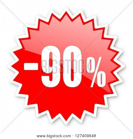90 percent sale retail red tag, sticker, label, star, stamp, banner, advertising, badge, emblem, web icon