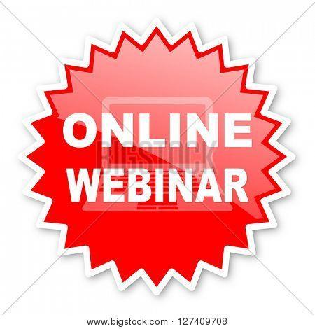 online modern webinar red tag, sticker, label, star, stamp, banner, advertising, badge, emblem, web icon