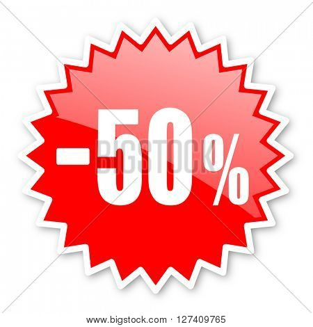 50 percent sale retail red tag, sticker, label, star, stamp, banner, advertising, badge, emblem, web icon