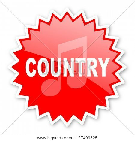 music country red tag, sticker, label, star, stamp, banner, advertising, badge, emblem, web icon