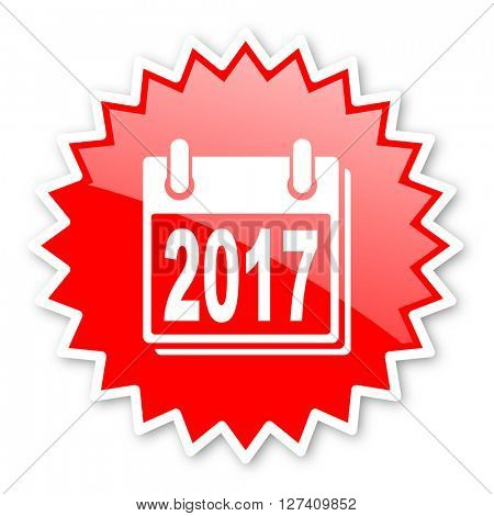 new year 2017 red tag, sticker, label, star, stamp, banner, advertising, badge, emblem, web icon