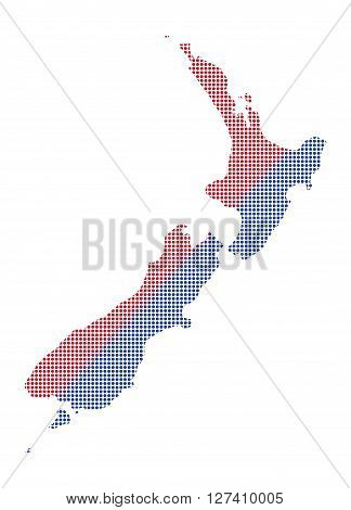 New Zealand Dot Map Red And Blue