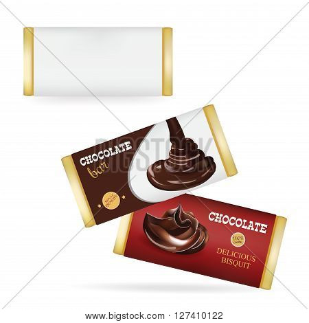 Vector White Blank Food Packaging For Biscuit Wafer Crackers Sweets Chocolate Bar Candy Bar Snacks . Chocolate bar Design Templates Isolated On White Background
