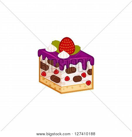 Strawberry and chocolate cake piece isolated on white background. Vector illustration for tasty slices bakery shop. Healthy Diet mousse, yogurt pastry.