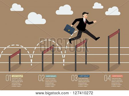 Businessman jumping over higher hurdle infographic. Business concept
