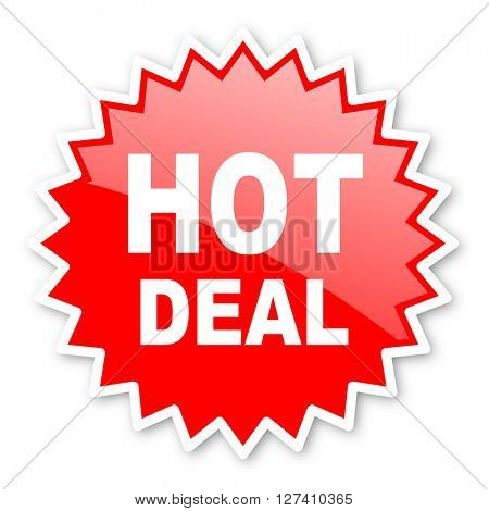 hot deal red tag, sticker, label, star, stamp, banner, advertising, badge, emblem, web icon