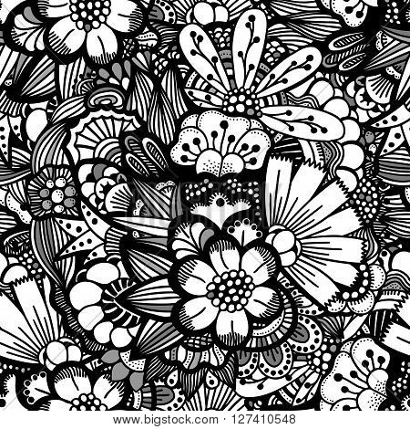 Hand drawn floral wallpaper with set of different flowers. Could be used as seamless wallpaper textile wrapping paper or background