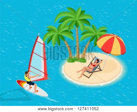 Windsurfer on a board for windsurfing. Creative vacation concept. Water Sports. Windsurfing, Fun in the ocean, Extreme Sport, Windsurfing icon, Windsurfing
