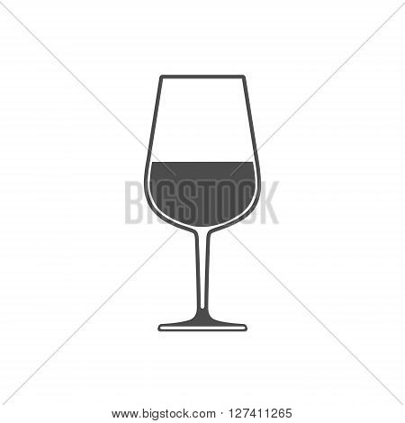 Wineglass with wine sign symbol icon isolated on white background. Flat design.