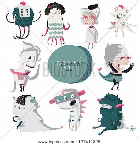 Vector illustration with lovely smiling monsters set made in grey and green colors fun cute isolated on background. Can be used for mascot or character design for t-shirts or presentations.