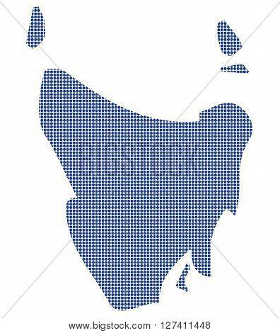 Tasmania Australia Dot Map In Blue