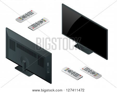 TV flat screen lcd, plasma realistic vector illustration, tv mock up. Black HD monitor mockup. Modern video panel black screen mock-up