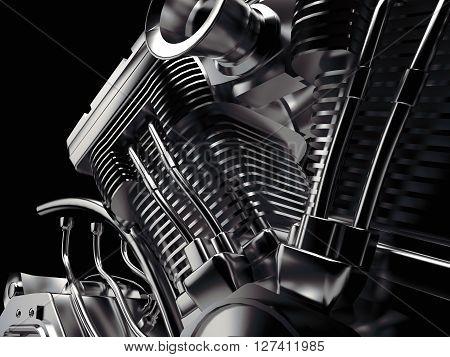 Motorcycle engine close-up on black background. 3D illustration.