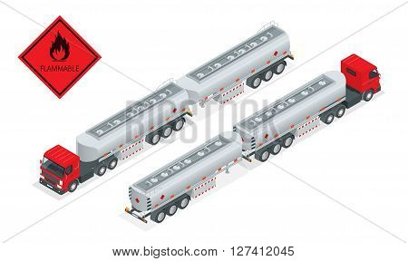 Fuel gas tanker truck isometric illustration. Truck with fuel vector. Automotive fuel tanker shipping fuel. Oil Truck isometric vector. Fuel tanker truck