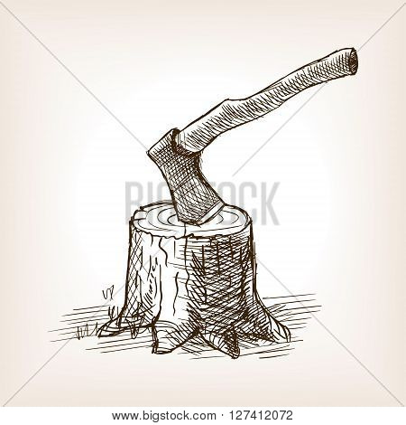 Axe in the stump sketch style vector illustration. Old engraving imitation.