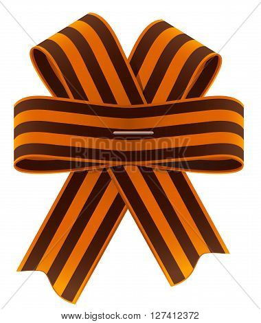 St. George ribbon bow. Symbol of Russian Victory Day. Isolated on white vector illustration