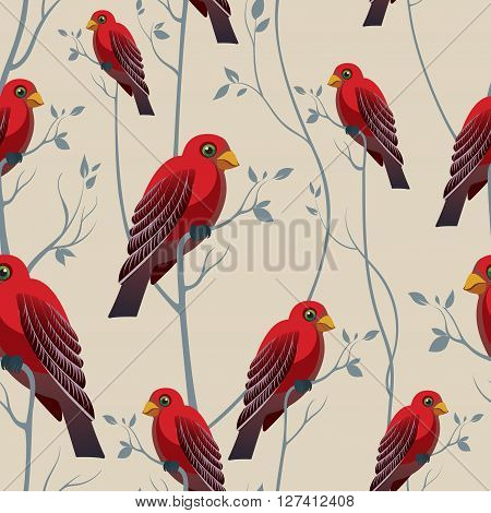 Bird on a branch. Seamless pattern with red birds