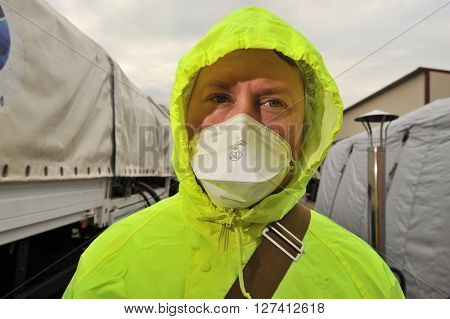 Saint-Petersburg Russia April 6 2016: Close-up portrait of a man in a protective kit during a training exercise on the Elimination of radiation hazards in a conditionally contaminated areas.