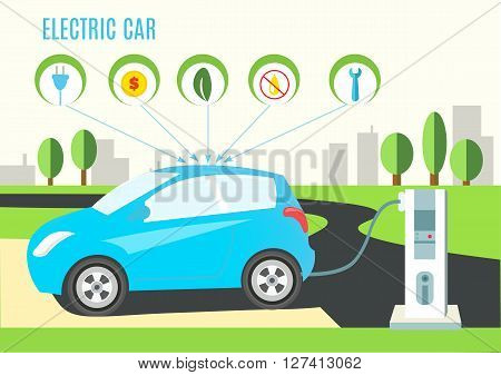 Electric Blue Hybrid Car Charging Illustration on the Road and City Landscape. Icons with plug money eco oil and wrench. Vector flat style infographic.