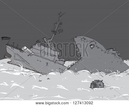 A monster whale swallowing a warship, concept of a disaster on a sea, illustration in black and white
