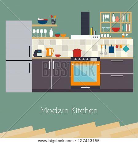 Kitchen interior. Flat design kitchen concept. Kitchen equipment background. Vector illustration.