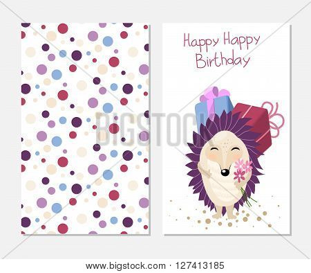 Stylish happy birthday card in cute style with cartoon hedgehog. Template for print design