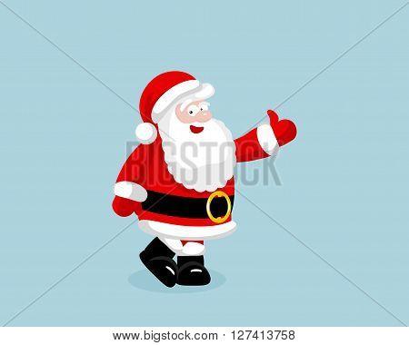 Santa Claus showing thumb up. Vector illustration. EPS 8. No transparency. No gradients.