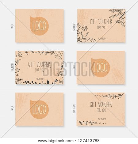 Vector Gift Voucher, Card Template With Hand Drawn Leaves Background. Gift Certificate. Background D