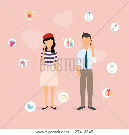 Couple Talking On A Cell Phone. Cartoon Man And Woman In Love. Set Of Love, Romantic And Family Icon