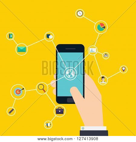 Internet of Things concept. Business icons. Hand holding a smartphone revealing a net of wireless controlled devices. Business Control by smartphone. Vector flat illustration.