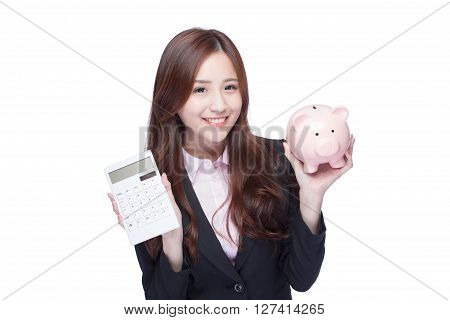 smile young business woman hold calculator and piggy bank at white background business concept asian beauty