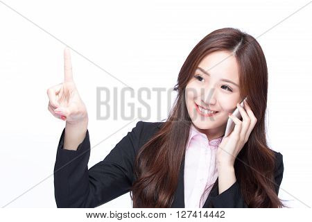 Young Business woman show empty copy space and smile talking on the mobile phone isolated on white background model is a asian beauty