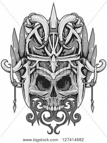 A vector illustration of horrible mask with skull on the white backfround