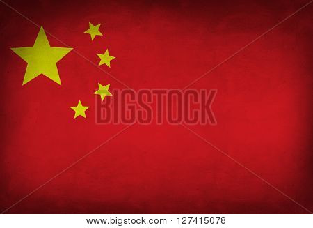 Chinese flag painted on the wall. China flag background