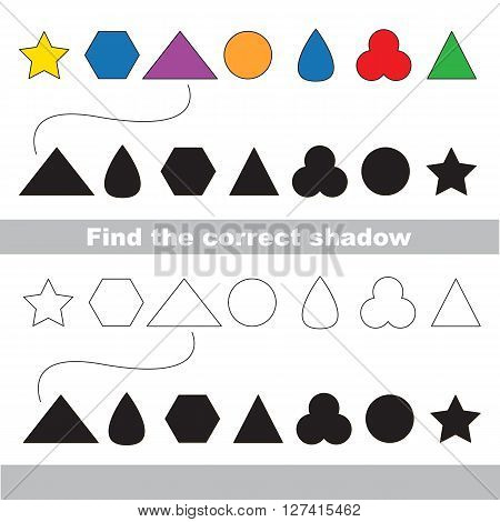 Simple geometric shapes set with shadows to find the correct one. Compare and connect objects. and their true shadows. Logic game for children.