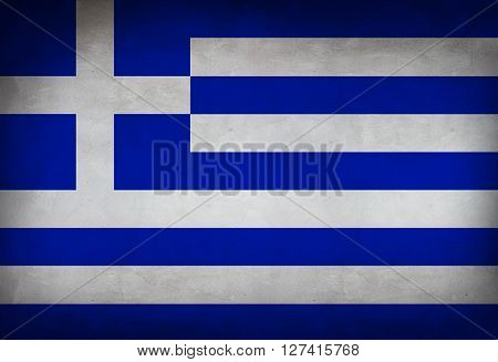 Greek flag painted on the wall. Greek flag background