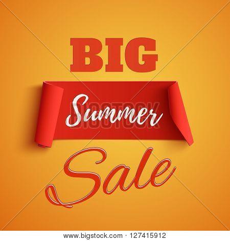 Big summer sale poster on orange background. Summer sale banner. Summer sale ribbon. Vector illustration.