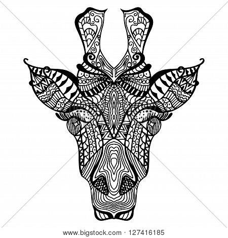 Giraffe. Hand drawn giraffe with ethnic floral doodle pattern. Coloring page zentangle design for spiritual relaxation for adults vector illustration isolated black on white background. Zen doodles