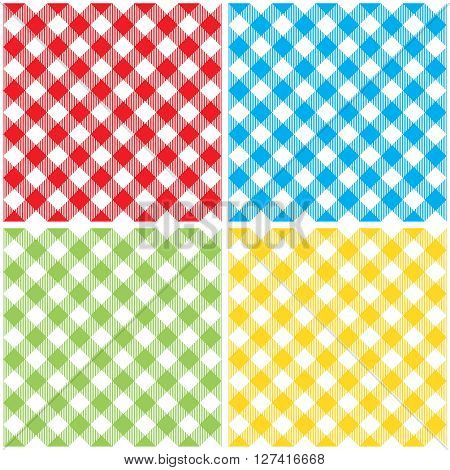 Set checkered colored tablecloth diagonal seamless pattern. Vector illustration of traditional gingham dining cloth with fabric texture. Checkered picnic cooking tablecloth different colors.