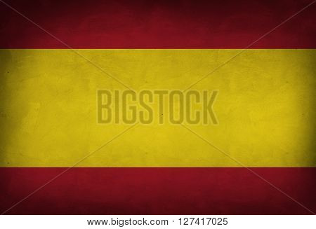 Spanish flag painted on the wall. Spanish flag background
