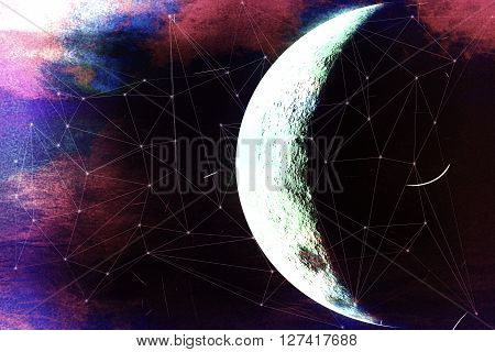 space horizons moon abstraction, abstract moon painting