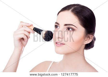 Close Up Portrait Of Young Beautiful Woman With Make Up Brush Isolated On White