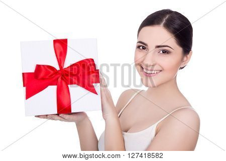 Portrait Of Young Beautiful Woman With Gift Box Isolated On White